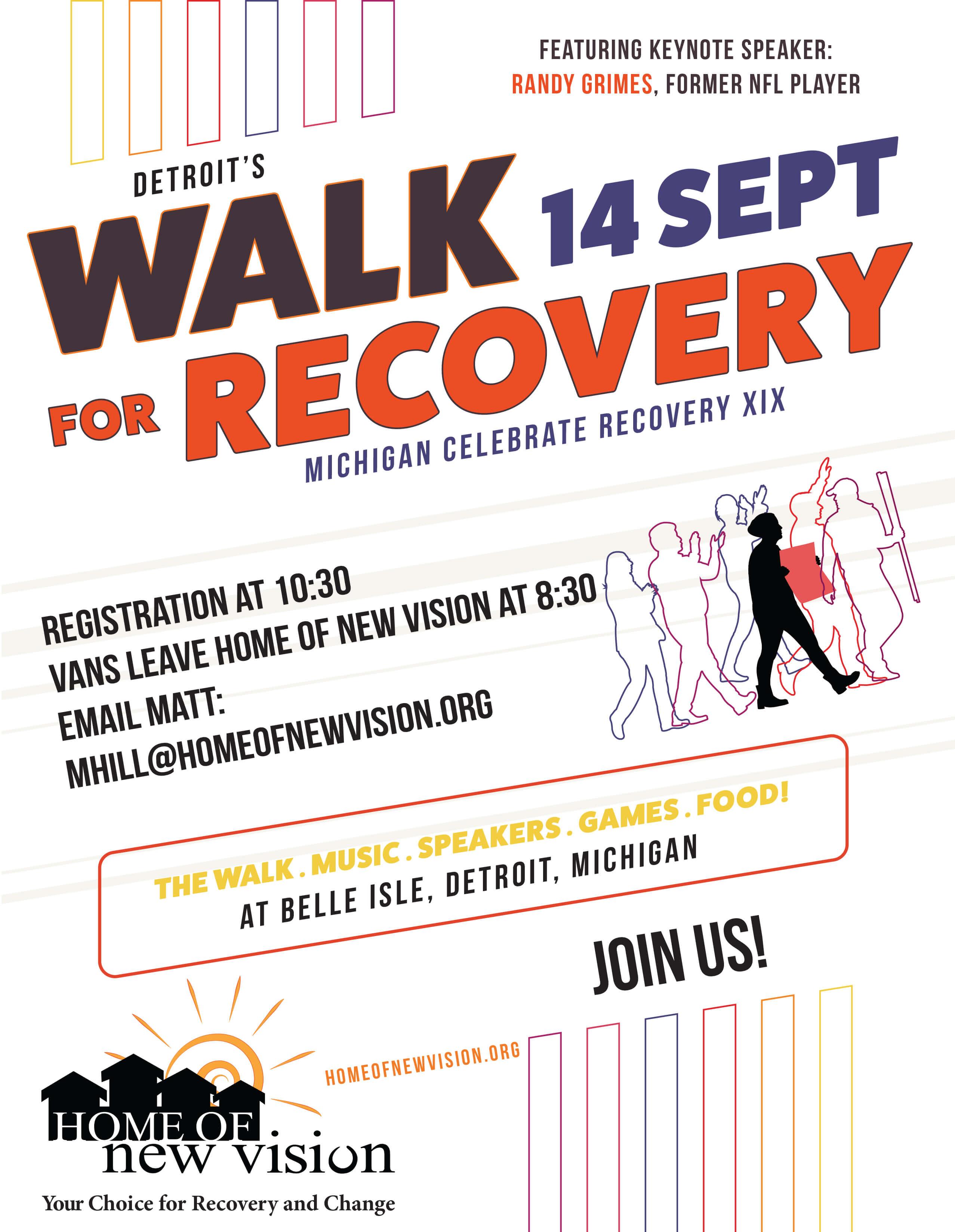 Detroit Recovery Walk flyer 2019
