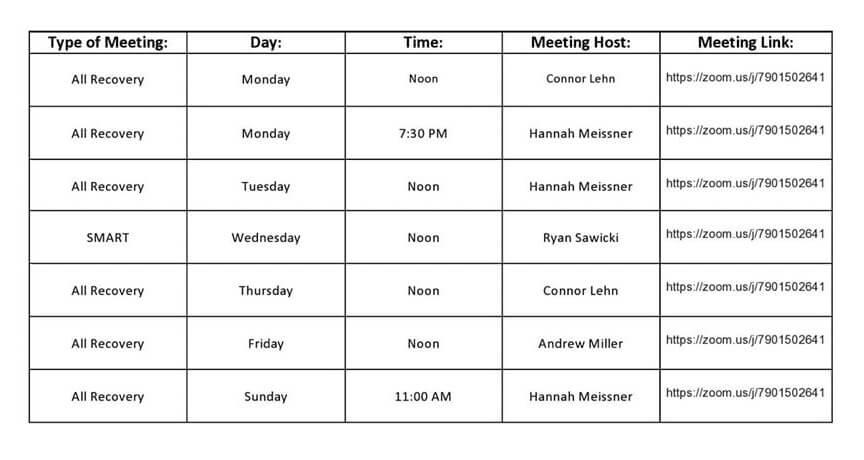 WRAP Virtual meeting schedule