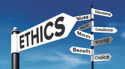 "signpost that says ""ethics"""