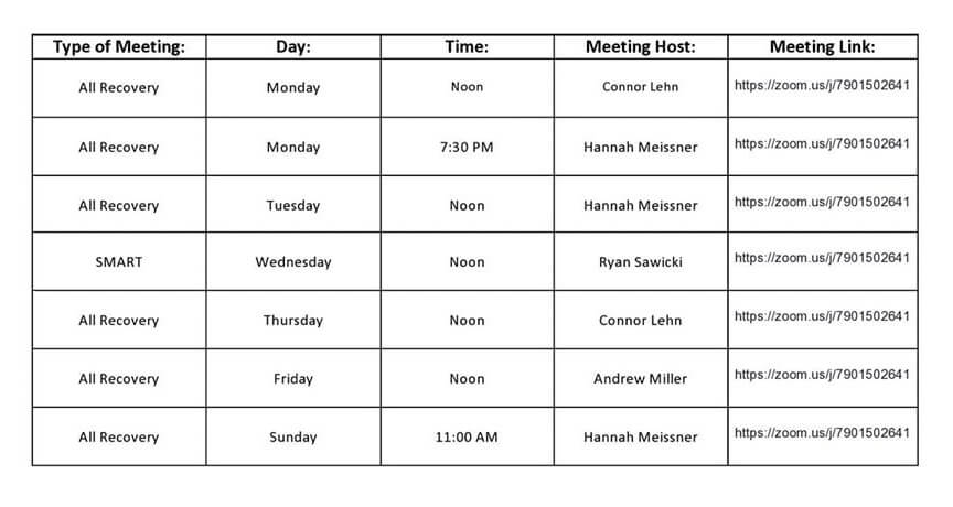 WRAP Virtual meeting schedule